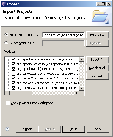 Eclipse IDE Carrot2 project import step 2