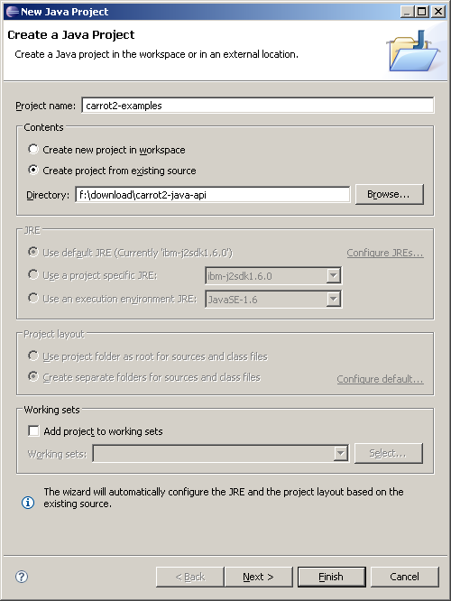 Setting up Carrot2 Java API in Eclipse IDE