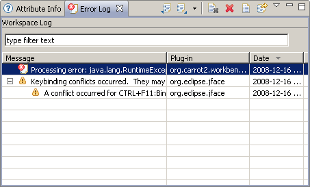 Carrot2 Document Clustering Workbench Error Log view